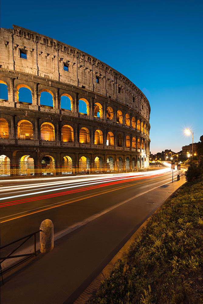 Colosseum Light Trails by Michael Woloszynowicz