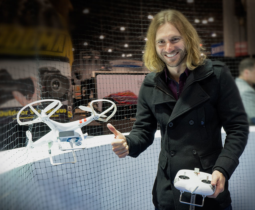 Elia Locardi flying a drone at PPE 2014
