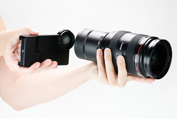 An iPhone SLR Mount for Canon and Nikon Lenses