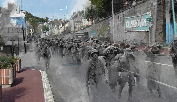 World War II Photos Superimposed On Same Modern Street