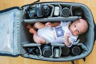 Photography Moms and Dads Capture Their Babies Nestled In Their Camera Bags