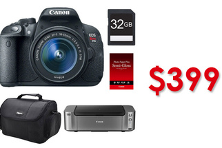 Amazing Sale: Canon T5i Camera, Lens, Memory, Bag, and Pro-100 Printer For Only $399