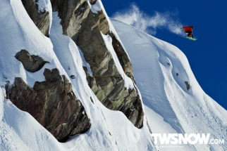 Snowboarders With Hundred Foot Vertical Drops