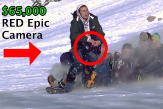 Awesome Saran Wrap Sledding Almost Destroys $65,000 Red Epic Camera