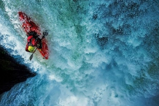 Getting The Shot: Kayaker Dropping Off A 65-foot Waterfall