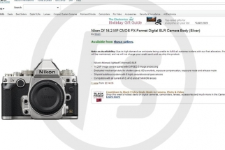 Amazon Goofs, Prematurely Publishes Nikon DF Product Page, Pricing
