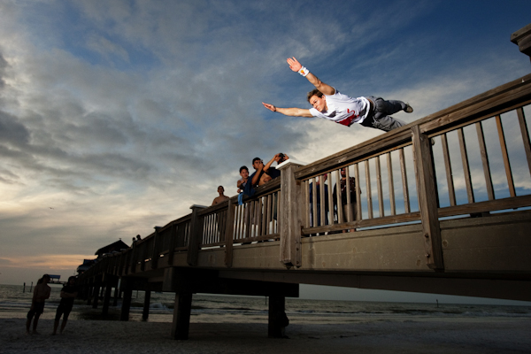Parkour athlete Ryan Doyle trains in Tampa, Florida.