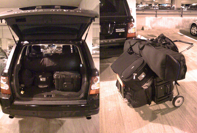 My normal travel kit. 1 Pelican case with lights, 1 light stand bag with misc accessories, and my laptop and camera bags, which I carry on the plane with me.