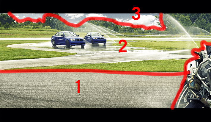 "An example of one section from the composite. Each number represents a different image that was stitched into the final image. It was a challenge to shoot the wet track in image ""2"" to fit the perspective of image 1 because in real life the 2 sections of the track were much further apart"