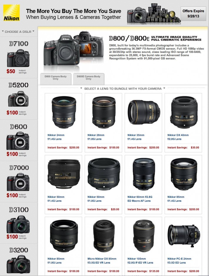 Nikon Rebates September 2013 Full Page