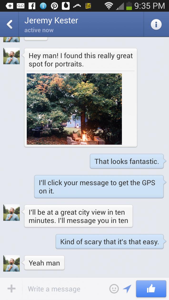 Fstoppers Facebook Messenger Location Saving Idea