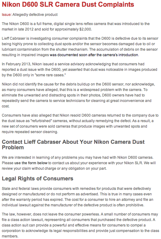 Fstoppers Nikon Sued over D600 1