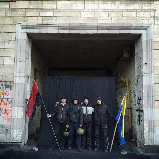 """My makeshift portrait studio by the barricades in Hrushevskogo street. Maidan anti government protests, Kiev, Ukraine."""