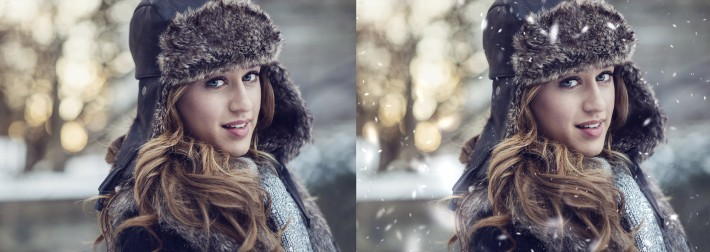 before after snow add photoshop how to