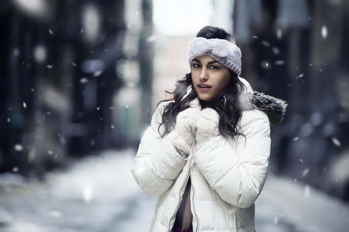 snowflakes winter portrait add photoshop snow rain dani diamond fstoppers