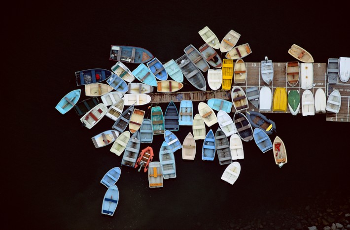 Dinghies Clustered Around Dock, Duxbury, MA 1993 by Alex MacLean