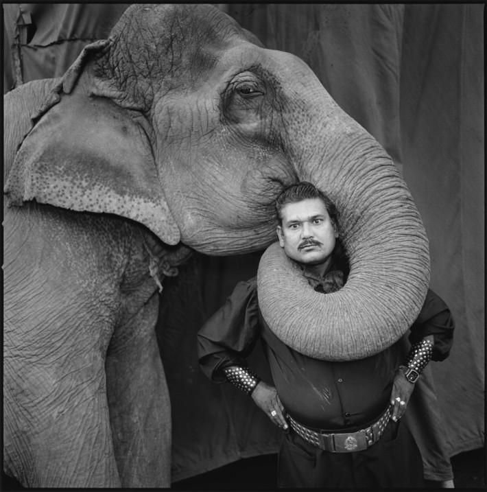 Image name: Ram Prakash Singh with His Elephant Shyama, Great Golden Circus, Ahmedabad, India 1990 Indian Circus Copyright: @Mary Ellen Mark